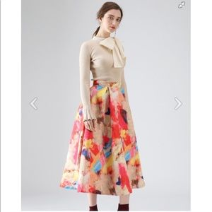 NWT Florid Watercolor A-Line Skirt